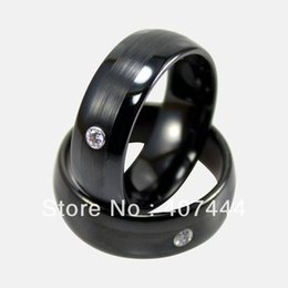 Wholesale Cheap Onyx - ewelry brush Free Shipping Cheap Price Jewelry USA Brazil Russia Hot Sales His Her 8MM Black Brushed With CZ Tungsten Ring Mens Wedding B...