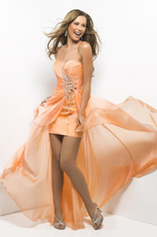 Wholesale Satin Bright Orange Short Dresses - Official Catwalk Evening Dresses 2017 New Chiffon Strapless Sexy Ball Prom Dress Pure Handmade Crystal Beaded Bright Celebrity Party Gowns