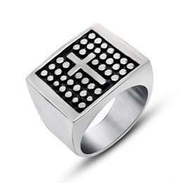 Wholesale Cross Casting - Hot Sale Domineering Titanium Casting Cross Dots Carved Ring Jewelry Size 7 8 9 10 11 12 Mix Size