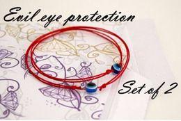 Wholesale Evil Eyes Baby - Wholesale-BRS004 Red String Blue Evil Eye Simple Cheap Bracelet Fashion Kabbalah Bracelet For Women Baby Child Set of Two 2