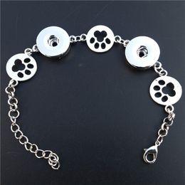 Wholesale Dog Buttons - 12pcs lot Vintage Silver Dog Footprint Noosa Chunks Metal Ginger 18mm Snap Buttons Bracelet Women Men Jewelry