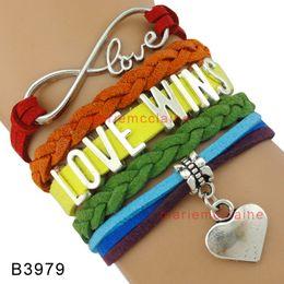 Wholesale Pride Charms - (10 Pieces Lot) Infinity Love Wins Heart Charm Bracelet LGBT Pride Bracelet Gift for LGBT Gay Pride Multilayer Wrap Bracelet