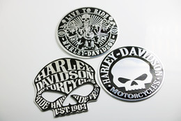 Wholesale Decal Car Body Sticker - 3D Metal 9 cm LIVE TO RIDE Skull Car Motorcycle Emblem Badge Decal Sticker 2017 hot