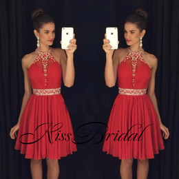Wholesale Mini Rhinestone Applique Dress - 2016 Red Sweet 16 Homecoming Dresses Halter Neck Vestido Formatura Curto Beaded Crystals Rhinestones Ruched Backless