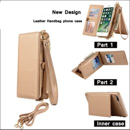Wholesale Iphone Fashion Pouch Cases - Best Luxury Multifunction Wallet Leather Phone Case for Iphone 7 7Plus Samsung Galaxy S8 S8 Plus Fashion Women wallets handbags Stand Flip