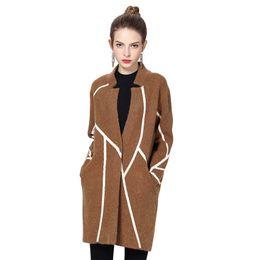 Wholesale Knit Rabbit Fur Cardigan - Autumn and Winter Knitting Women Cardigan Stripe Stand Collar Fashion Sweater Coats Rabbit Fur Female Long Sweater Wool Coats