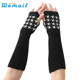 Wholesale Winter Mitts Wholesale - Wholesale- Womail Winter Women's Wool Mitts Fashion 30cm Fingerless Long Gloves Semi finger Knitted Arm Warmers #30 2017 Gift 1pair