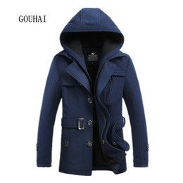 Wholesale Mens Cotton Wool Coats - Wholesale- Man Trench Coat Winter Peacoat 2016 New Fashion Mens Wool Jacket Hooded Overcoat Male Clothing Plus Size M-3XL 4XL