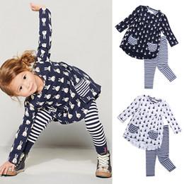 Wholesale Preppy Blouse - Rabbit Pattern Tops Blouse+Striped Pants 2Pcs 2Pockets Lovely Black White Preppy Student Fashion Autumn Spring Girl Suit Factory Design 2-6T
