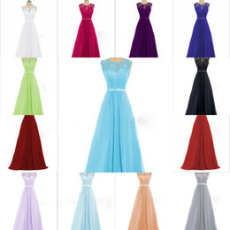 Wholesale Tank Scoop Bridesmaid Dresses - Cheap Colorful Long Lace Bridesmaid Dresses 2017 For Women Formal Occasion Prom Gown Tank Scoop Sleeveless Chiffon