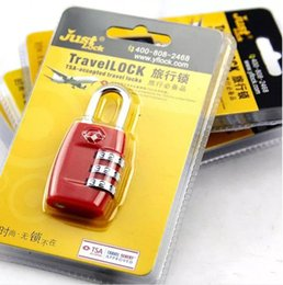 Wholesale Tsa Travel - Free Shipping Resettable 3 Digit Combination Padlock Suitcase Travel coded Lock TSA locks Luggage Padlock nice gift
