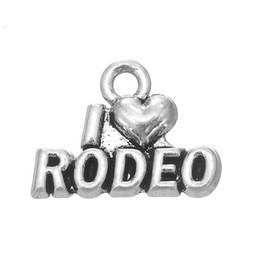 Wholesale Rodeo Charms - Best Selling Handmade Antique Sliver Plating I Love Rodeo Metal Letter Charm Accessory Jewelry
