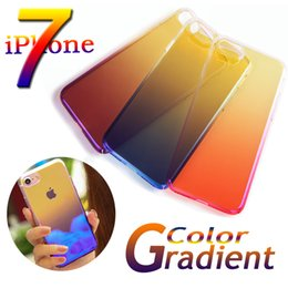 Wholesale plastic mirror material - For iPhone 7 Mirror Plating Gradient Color Slim Plastic PC Material Transparent Phone Shockproof Hard Case Cover For iPhone 7 Plus 6 6S 10pc