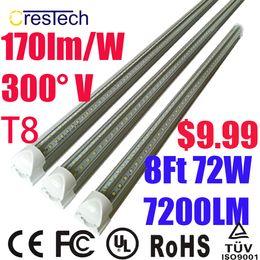 Wholesale Cold White Bulb - led t8 8ft tube 2ft 3ft 4ft 5ft 6ft Led Tubes T8 Integrated V-Shaped Lamp Double Line SMD2835 pure white 5000-5500K bulb 2400mm