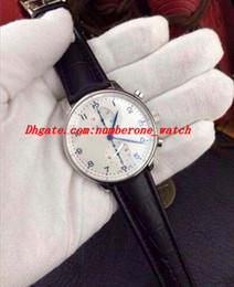 Orologi portoghesi online-Orologio da uomo in pelle nera al quarzo con orologio cronografo al quarzo