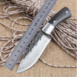 Wholesale Forged Steel Hunting Knives - Straight Handmade forged Damascus Steel pattern hunting knife fixed blade knife 59RC ebony handle