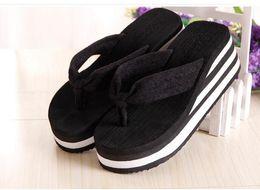 Wholesale Sandals 7cm Heel - Manufacturers new high-heeled sandals flip-flops high-quality non-slip cloth sandals summer women's loose shoes heel high 7CM