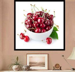 Wholesale Fruit Pages - Fruit Cherry Landscape DIY 5D Diamond stitch Round 3D Diamond Stitch Tools Kit diamond mosaic Room Decor