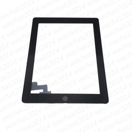 Wholesale Apple Ipad Touch Screen - 50PCS Touch Screen Glass Panel with Digitizer Buttons Adhesive for iPad 2 3 4 Black and White