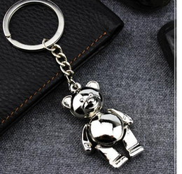 Wholesale Teddy Keyrings Wholesale - 100pcs lot fedex fast free shipping Teddy bear key chain Cute gift Stainless Steel keychain keyring key holder keyfob 10cm