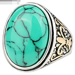Wholesale Natural Blue Ring - Jewelry Vintage Resin Wedding ring Imitation big Surface Natural texture lines oval blue Turquoise ring Carving rings For Women 2017 j340
