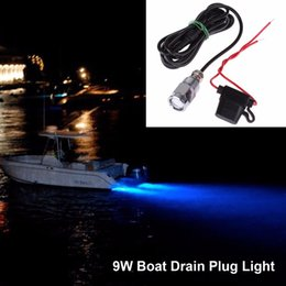Wholesale Pond Bulbs - Wholesale- 12V LED Underwater Boat Lights 9W Waterproof IP68 6 LED Yacht Boat Drain Plug Led Light Bulb With Connector