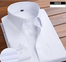 Vestito dalla corea che spedice liberamente online-7XL 6XL Oversize Corea Stile Mens Camicie Camicette Moda 2017 Manica Lunga Solid Hombre Camisa Uomini Sociali Abbigliamento Spedizione Gratuita