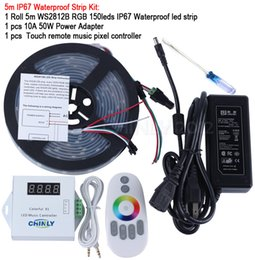 Wholesale 15m Led Strip Controller - DC5V 5m 10m 15m 20m 150leds ws2812b Individually Addressable led pixel strip Waterproof+Remote music controller+Power supply