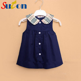Wholesale Cute Buttons Wholesale - Wholesale- 2017 Summer New Baby Girl Dress Sleeveless Plaid Doll Collar Mini A-Line Princess Dress Cute Button Cotton Kids Clothing 0-2 y