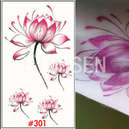 Wholesale Tatoo Papers - Wholesale-1 Sheet Flesh Tatoo Arm Sleeve White Tattoo Temporary Tattoo Black Tattoo Paper Lotus Flower Design Fake Tattoos Vintage WTAo301