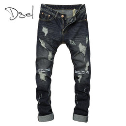 Wholesale Dark Jeans For Mens - Wholesale- Ripped jeans for men hot sale skinny jeans size 28 to 36 slim fit mens denim trousers brand design dark color casual men jeans