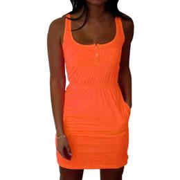 Wholesale Low Cut Tank Dress - Wholesale- Summer Candy Color Low Cut Buttons Vestidos Women Pleated Waist Sexy Tank Dress 2016 New Arrival Causal Mini Dress X0155