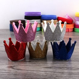 Wholesale Hats Headbands For Kids - 30pcs Lot 5colors Newborn 3d Felt Kids Crown For Girls Headbands Hair Accessories Handmade Glitter Felt Crown For First Birthday Hat
