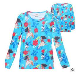 Wholesale Princess Tee Shirts - Children Clothing Moana Princess Kids Long sleeves T-shirt Cotton Cartoon Print Boys Clothes Girls Tops Tee Baby DHL Free Shipping