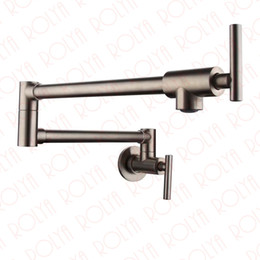 Wholesale Brushed Nickle - Rolya Wholesale Solid Brass Single Handle Extended Pot Filler Faucet Swing Spout Wall Mount Single Cold Kitchen Tap