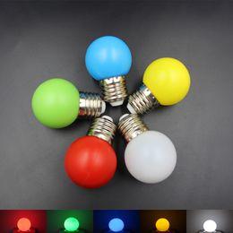 All'ingrosso-1pcs E27 1W LED Golf Ball Lampadina AC110-240V Energy Saving Globe Lampada colorata caldo bianco rosso blu verde singolo colore lampada da