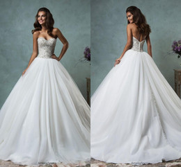 Wholesale Tulle Beaded Sweetheart Puffy Wedding - 2016 Spring Summer Amelia Sposa Ball Gown Wedding Dresses Puffy Tulle Bridal Gowns Sweetheart Sequins Beaded Backless Plus Size Dress 2017