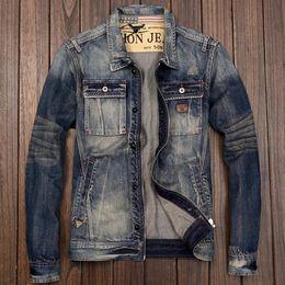Wholesale Japanese Style Jackets - Men's Zipper Motorcycle Biker Denim Jacket Japanese Style Retro Slim Fit Young Man Jeans Coat Spring Autumn