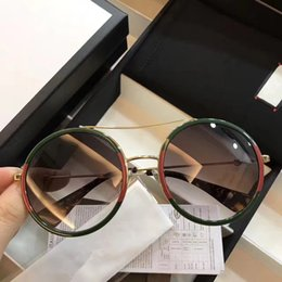 Wholesale Sunglasses Lens - G0061 Sunglasses Luxury Women Brand Designer 0061 Fashion Round Summer Style Mixed Color Frame Top Quality UV Protection Lens Come With Case