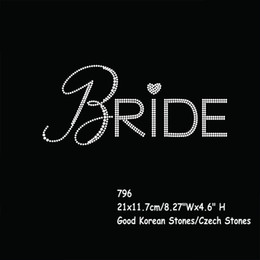 Wholesale Wholesale Iron Rhinestone Appliques - Wedding Party Hotfix Rhinestones Iron On Transfers Sticker Big Bride Motif Applique 40pcs lot