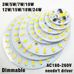 Wholesale 5w Led Driver - 10pcs ac 220v led pcb SMD5730 3w 5w 7w 10w 12w 15w 18w 24w integrated ic driver White  Warm White Light Source For LED Bulb