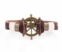 Wholesale Cow Rings - Wish supply punk rudder bracelet steering wheel head layer cow leather rope leather bracelet hand jewelry wholesale Free Shipping