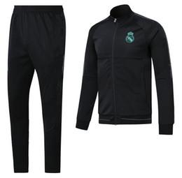 Wholesale Spring Autumn Men Jacket - AAA+top quality RONALDO tracksuit 2017 2018 Real Madrid jackets SERGIO RAMOS KROOS BENZEMA JAMES BALE ISCO 17 18 adult tracksuit jacketS