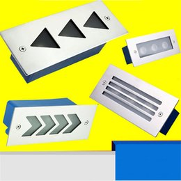 Wholesale Outdoor Led Recessed Light - 3W Wall Light Outdoor Recessed Wall Lights Embedded Footlights Led Stair Lamp 110V 220V waterproof Outdoor Path Stair Light Landscape Light