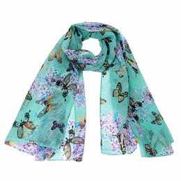Wholesale Chiffon Neck Scarves - Wholesale-Practical design Women Lady Chiffon Butterfly Print Neck Shawl Scarf Scarves Wrap wonderful gift for lady, women free shipping