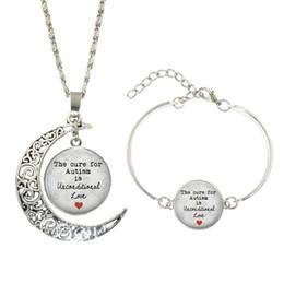 Immagini per amore online-Vendita calda! Set di gioielli in argento 5 Set La cura per l'autismo è incondizionata
