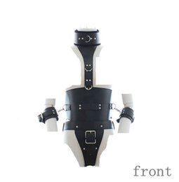Wholesale Nipple Cuffs - bondage leather appear costume harness fetish breasts uncovered chest open lingerie show nipple restraint strap wrist cuffs SM302402136