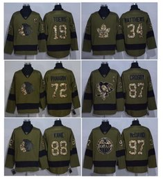 Wholesale Flashing Service - 2016 Salute To Service Ice Hockey Jerseys Army Green 88 Patrick Kane 97 Connor McDavid 15 Eichel 87 Sidney Crosby 34 Auston Matthews