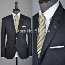 Wholesale Long Charcoal Dress - Custom Made Men's Charcoal Dress Suit Slim Fit Fantastic Wool Suit for Men(Jacket+ Pant)