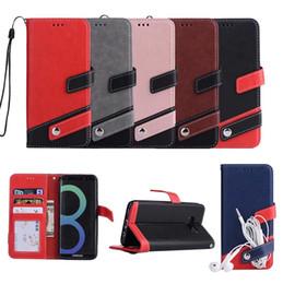 Billetera de galaxy note online-Híbrido Color de la PU de la caja de la cartera de cuero para Iphone XR XS Max X 8 7 6 6 s SE 5 5S Galaxy Note 9 8 S9 S8 S7 Dual ID de la ranura de la tarjeta Flip Cover Strap